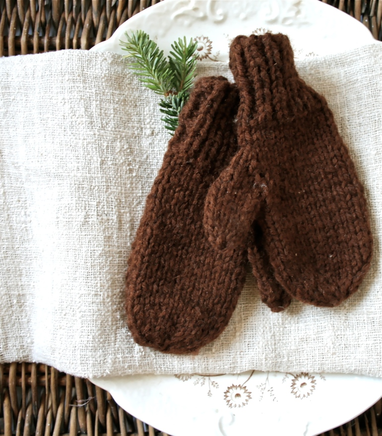 Sweet hand knit mittens