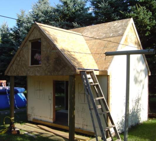 "Roof is all buttoned up--now to make it ""charming""."