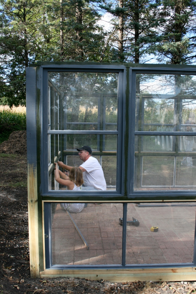 Each window was trimmed and fit into the openings.  Priming, chalking and painting was an ongoing job.