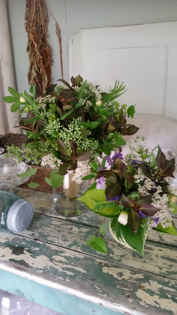 The little shed became my design studio for the day. Wedding flowers waiting for the bride.
